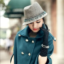 Free Shipping New Arrival Fashion Dress Hat Women Dress Hat Women Wool Felt Hat Bucket Hat 100% Wool  Short Brim Beads Hangings