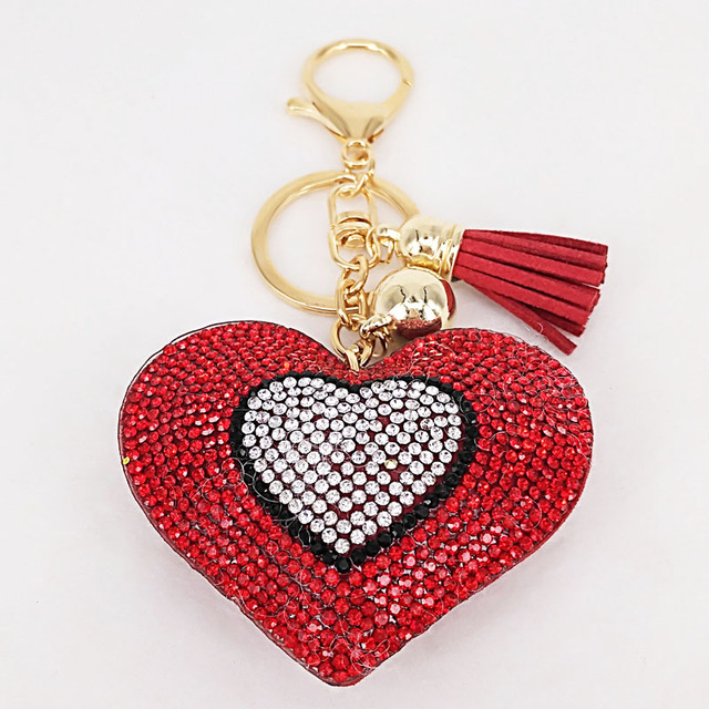 New Lovely 6Colors Double Hearts Keychain Tassel Pendants Fashion Gifts Key Chains Personalized Handbag Decorative Supplies 4