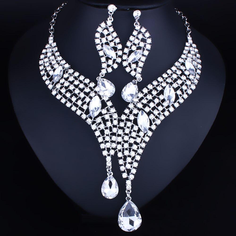Wedding Jewelry African beads Crystal Rhinestones Necklace Earring Set Luxury Bridal Jewelry sets