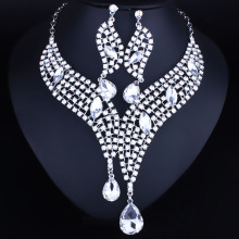 Wedding Jewelry  African beads Crystal Rhinestones Necklace Earring Set Luxury Bridal Jewelry sets