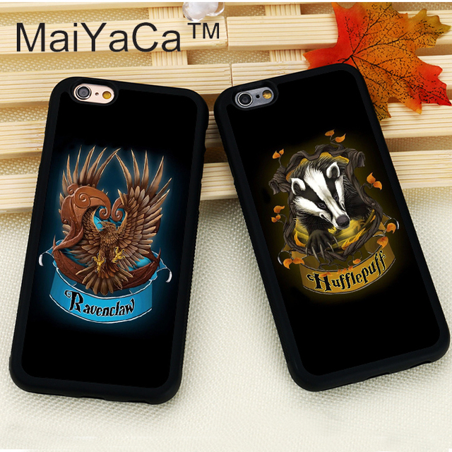new arrival e7f69 502a4 US $2.87 5% OFF|MaiYaCa harry potter Gryffindor Hufflepuff Slytherin Phone  Cases For iPhone 6 6S 7 8 Plus X XR XS MAX 5 5S SE Rubber Soft Case-in ...