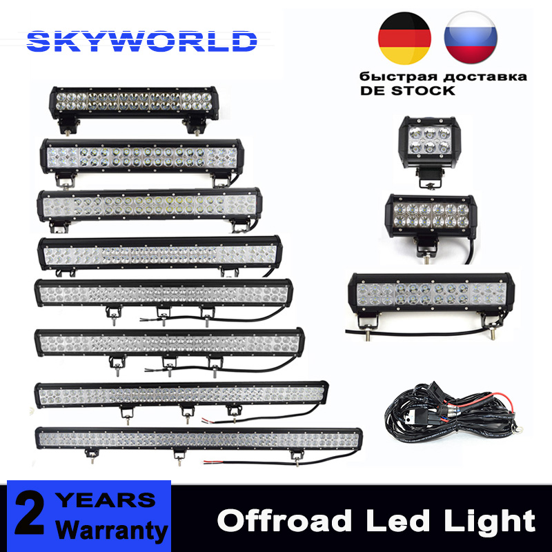 Bar Offroad Led-bar 4 7 12 18 20 25 28 36 44 inch Dual Row Driving Work Lightbar for Car 4WD Truck 4x4 SUV ATV 90W 180W 12V 24V