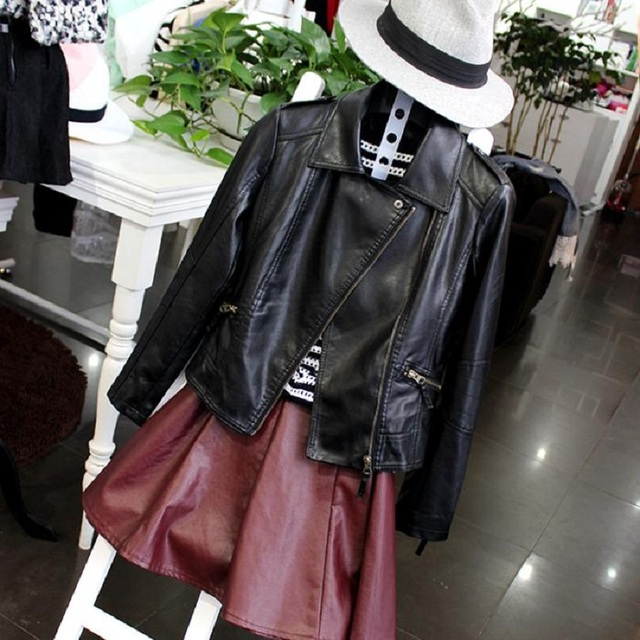 Women Black Slim Cool Lady PU Leather Jackets Sweet Female Zipper Faux Femme Outwear jackets