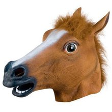 Full Head Horse Face Mask Animal Mask latex party Crazy Rubber Creepy Mann Halloween Costume Halloween Masquerade Party Mask(China)