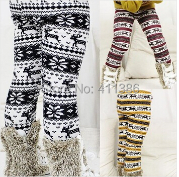 SK047 New Arrival Girls Thick Pants Childrens Winter Warm Leggings Kids Elastic Waist Deer Bootcut Retail girls pocket side elastic waist pants