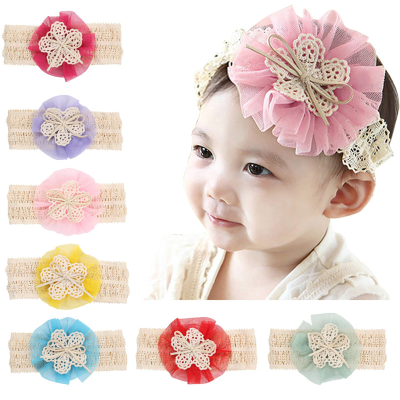 100PCS/LOT Novelty Handmade Width Headbands Lace Creative Design Network Hair Bow Best Hairpin for Kids Girl Clip DIY Headwear