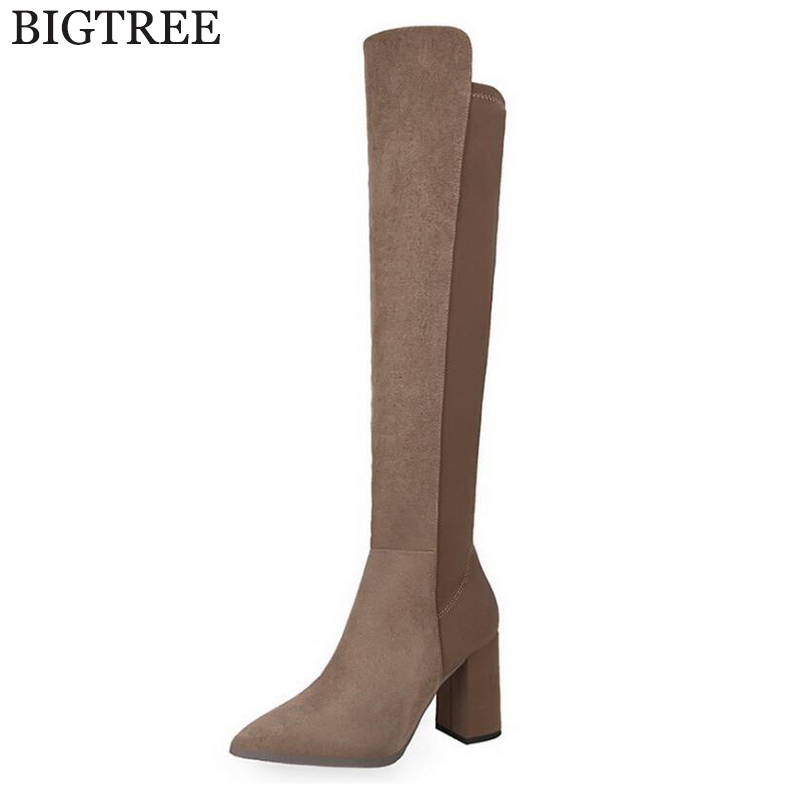 Top Faux Suede Women Thigh High Boots Stretch Slim Sexy Fashion Over the Knee Boots Female Shoes High Heels Women's boots k393 women stretch fabric faux suede patchwork sexy thigh high boots comfort block heel female footwear slip on flower printed shoes
