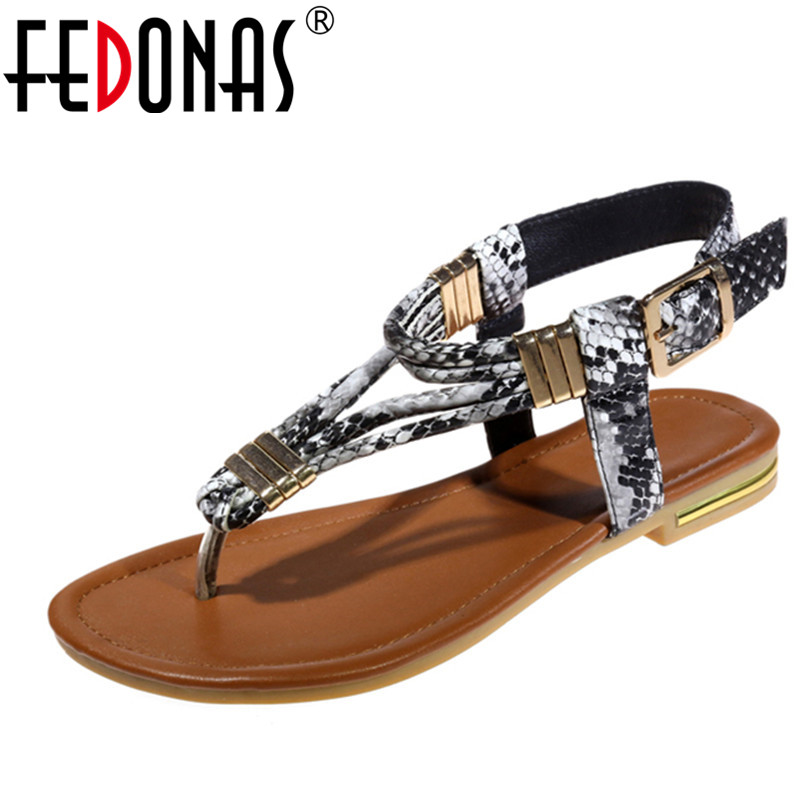FEDONAS 2020 Bohemian Women Sandals Slippers Summer Beach Genuine Leather Shoes Woman Flip Flops Ladies Flat