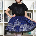 CARDCAPTOR SAKURA Navy blue Gothic lolita Short Pleated Skirt Moon Star Magic Geometric Print Women's skirts Teens Young girls