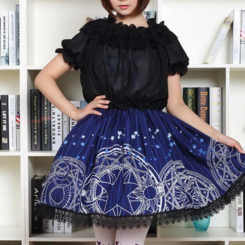 CARDCAPTOR SAKURA Navy blue Gothic lolita Short Pleated Skirt Moon Star Magic Geometric Print Women's skirts Teens Young girls