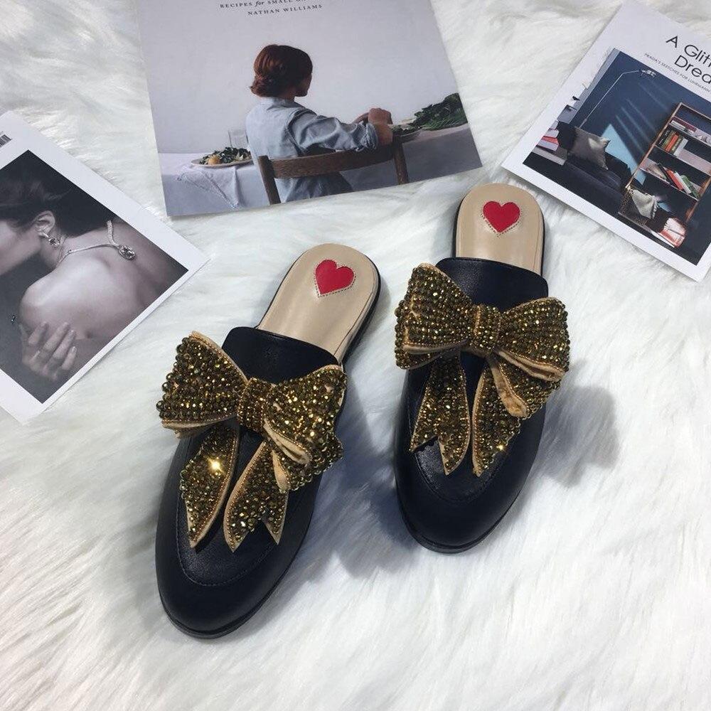 Autunno Del Zapatos nodo Pantofole Scarpe Femme De Designer Chaussures Mujer Donne Pic Modo as Delle Pic Lusso Primavera As Donna Farfalla Rhinestone Di nwPYg