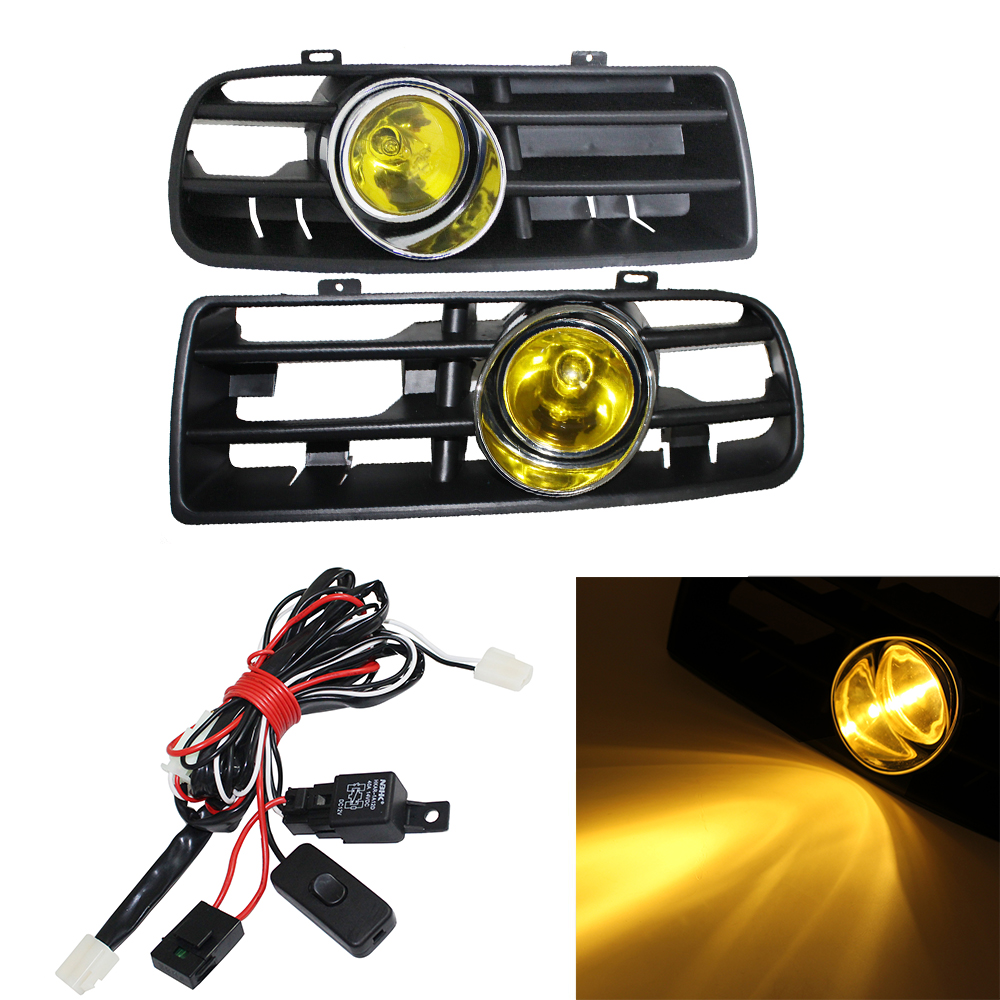 1 Set Front Fog Light Lamp Racing Grills & Wiring Harness Switch Fog Light Auto Accessories For VW Golf MK4 GTI TDI 1998-2004 5 pieces set front auto fog lights with racing grills cable auto accessories for volkswagen jetta mk6 2011 2014 parts p22