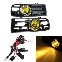1 Set Front Fog Light Lamp Racing Grills & Wiring Harness Switch Fog Light Auto Accessories For VW Golf MK4 GTI TDI 1998 2004