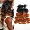 Graça Cabelo 4 Ofertas Bundle Brasileiro Virgem Do Cabelo da Onda Do Corpo Do Cabelo Brasileiro Ombre T1B/30 Ombre Hair Extensions Tissage Bresilienne