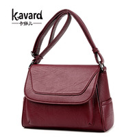 Kavard Bag Women Messenger Bags Black Leather Handbag Small Size Luxury Handbags Women Bags Designer Fashion