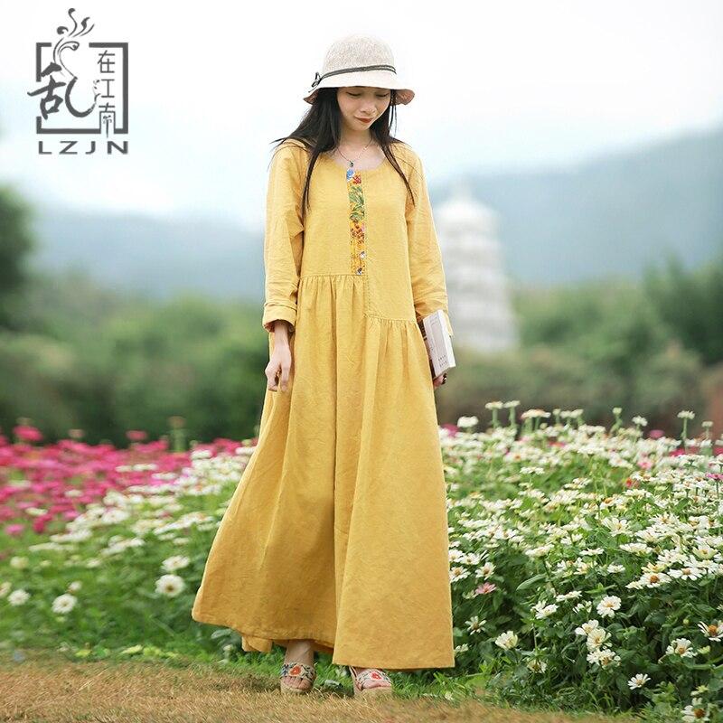 LZJN Yellow Dress for Women 2019 Autumn Long Sleeve Cotton Linen Robe Femme Vestidos Floral Patchwork