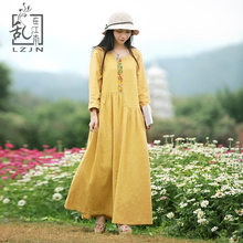 Здесь можно купить   LZJN Yellow Dress for Women Long Sleeve Cotton Linen Vestidos Patchwork Robe Femme Folk Style 2018 Spring Maxi Shirt Dresses Women