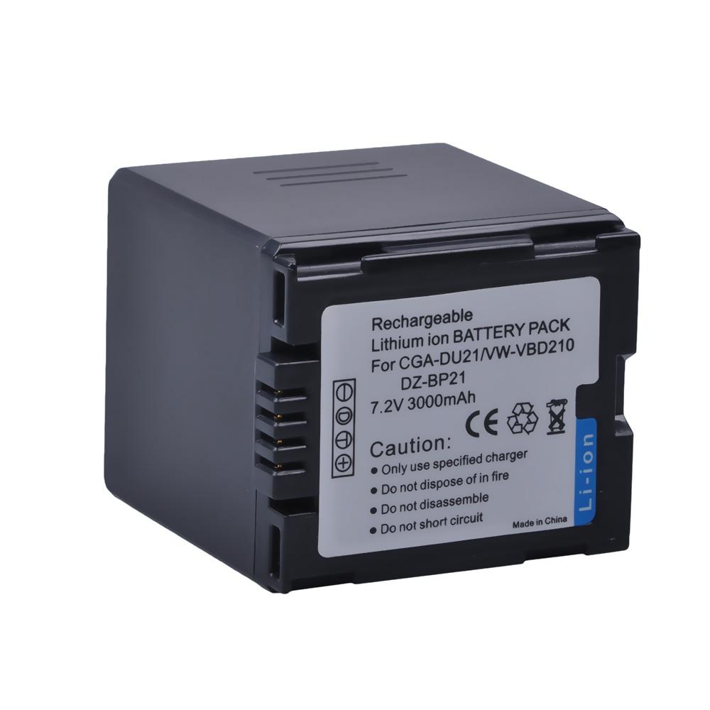 1Pc 3000mAh CGA-DU21 CGA DU21 High Capacity VW-VBD210 Camera Battery For Panasonic NV-GS330 GS400 GS408 GS500 GS508 MX500 PVGS90