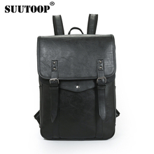 SUUTOOP Men Women Business Casual Backpack For Teenage School Bag PU Leather Fashion Male Shoulder Bags Vintage Laptop Girls Bag