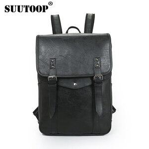 SUUTOOP Men Women Business Casual Backpack For Teenage School Bag PU Leather Fashion Male Shoulder Bags Vintage Laptop Girls Bag