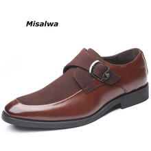 Misalwa Big Size 38-48 Newest Leather Monk Strap Formal Loafers Italian Style Footwear With Buckles Male Leisure Dress Shoes