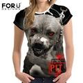 FORUDESIGNS T-Shirt Pit Bull Dog Terrier Prints Women Tops Fashion T Shirt Cool 3D Pug Cat Tshirt Female Clothes Women Punk Rock