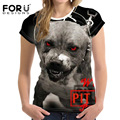 Forudesigns t-shirt pit bull terrier dog prints mulheres encabeça moda t camisa legal pug 3d cat tshirt roupas femininas mulheres punk rock
