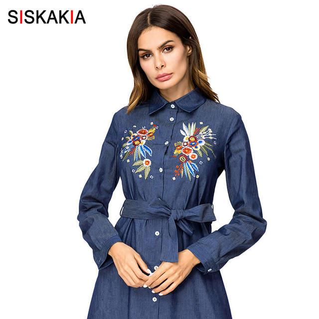 e8f4b339ee48f Siskakia Denim long dress maxi Tall women A line swing dress  Single-breasted lapel Shirt Dresses Autumn Chic Flower Embroidery