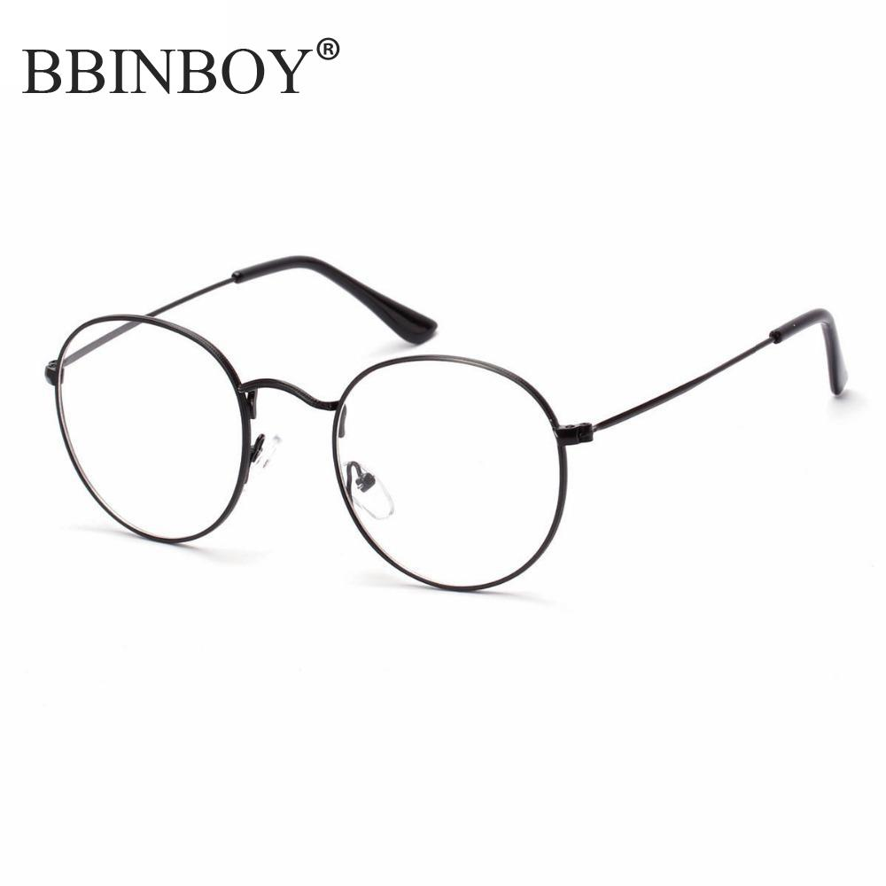 large oversized metal frame clear lens round circle eye glasses horned rim glasses small size thin
