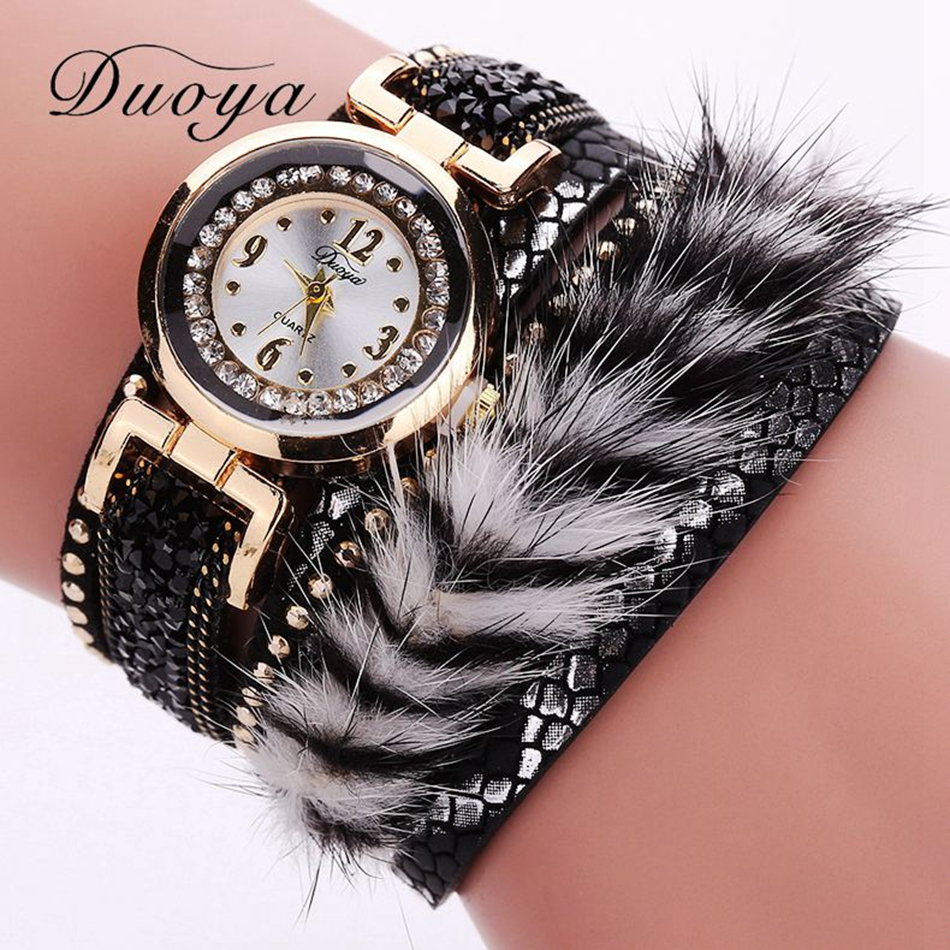 2017 Top Duoya Fashion Ladies Watch Luxury Crystal Leather Dress Wrist Watch For Women Bracelet Vintage Rhinestone Clock Watch duoya brand new arrival women gold leather wrist watches for women dress bracelet luxury crystal vintage quartz watch clock 2018