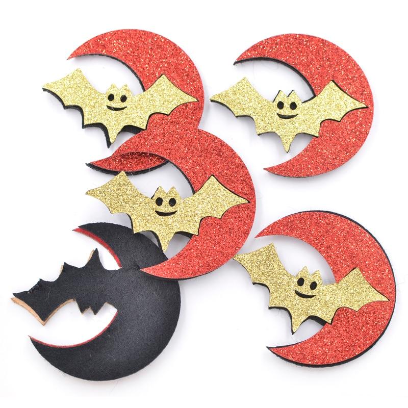 Padded applique Glitter Moon Bat feltie 2 Spooky bat felt embellishment Halloween Applique Red moon