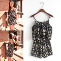 2016 Summer Rompers Womens Jumpsuit Cute Floral Print Ruffles Chiffon Camis shorts overalls monos cortos de mujer S27