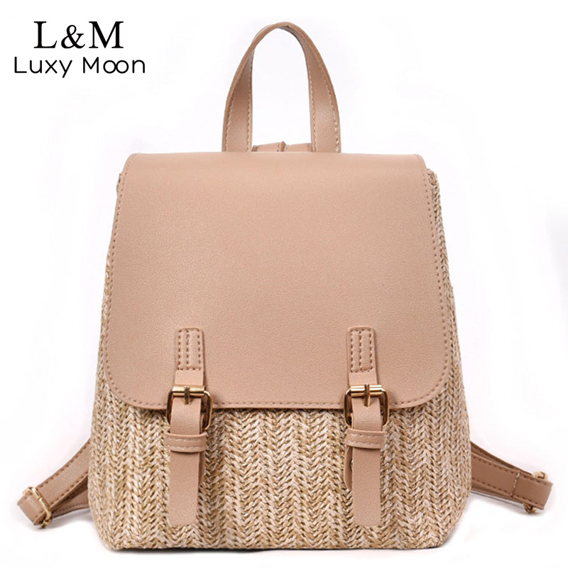 Simple Stitching Straw Knitting Backpack 2019 New Simplicity Patchwork College Wind School Bag Leisure Travel Backpack XA465HSimple Stitching Straw Knitting Backpack 2019 New Simplicity Patchwork College Wind School Bag Leisure Travel Backpack XA465H