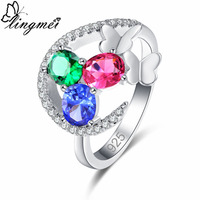 lingmei New Oval Gold Red Olive Green & Green Red Blue White CZ Silver Color Ring Size 6 7 8 9 Colorful Women Fashion Jewelry