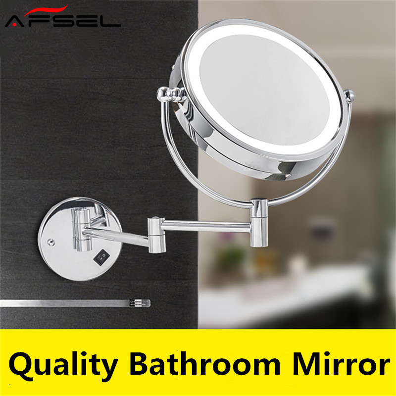 AFSEL 8 5 Inch LED Cosmetic Mirror Double Sides 5X 10X Zoom Wall Mounted Mirror Chrome