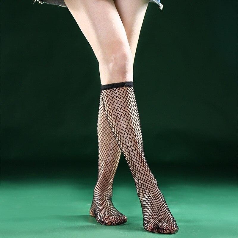 Summer Women Sexy Grid Socks Short Fishnet Socks Hollow Lattice Geometry Black Breathable Net Socks Female 1pair=2pcs Tt099