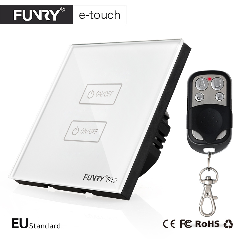 FUNRY EU/UK Standard Remote Switch 220V, Wireless Remote Control LED Light Switch,  RF433 Remote 2 Gang 1 Way Wall Touch Switch funry eu uk standard 1 gang 1 way led light wall switch crystal glass panel touch switch wireless remote control light switches
