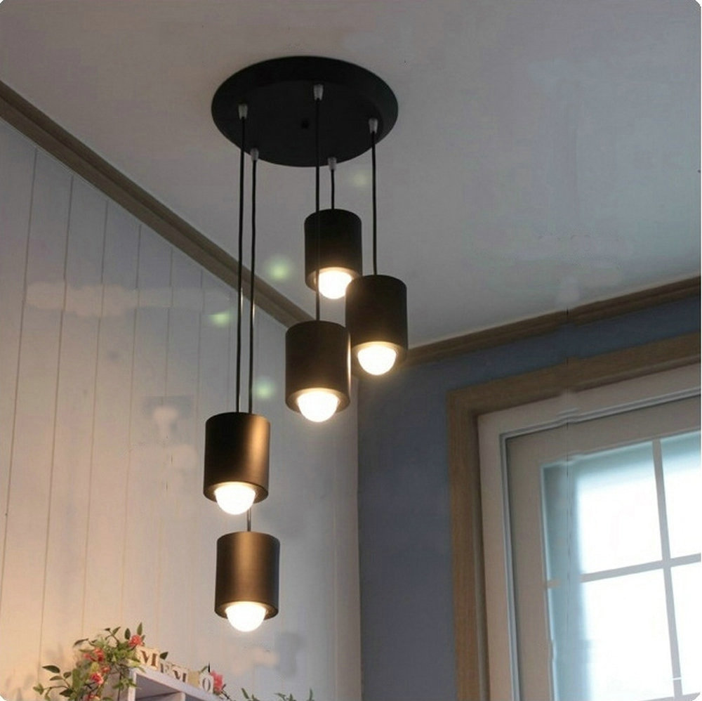 Modern Led pendant light for home dining room with iron black white red pink color free shipping black white red color spider led pendant light decorative with warm white 2700k white color 6000k 8w e27 led lamp