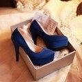 2016 Mulheres Simples Marca Clássica Fundo Grosso Pequeno Código 31 de Alta Sapatos de salto alto Preto Bombas de Grande Tamanho 42 43 Mulheres Paltform Sapatos