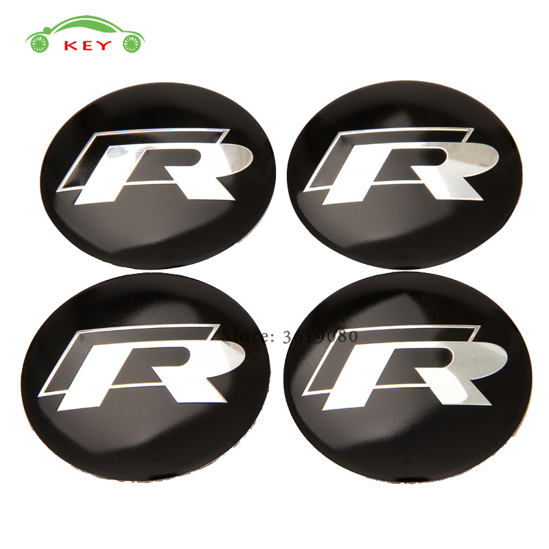 Car Styling Wheel Center Hub Caps Emblem Badge Stickers for R Line Logo for VW Volkswagen Magotan Lavida Polo Touran Passat Golf waterproof rubber hk right hand steering wheel car floor mats for volkswagengolf 5 6 scirocco with gti tsi r r golf logo