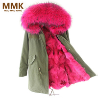 2018 New Women Winter Coat Army Green Thick Parkas Large Real Raccoon Fur Collar Hooded Fox Fur Lining Winter Jacket