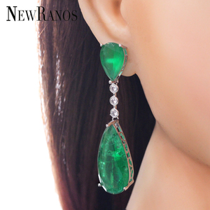Image 5 - Newranos pendientes colgantes de circonia cúbica para mujer, aretes largos, piedra de fusión verde, joyería para fiesta, EFX001862