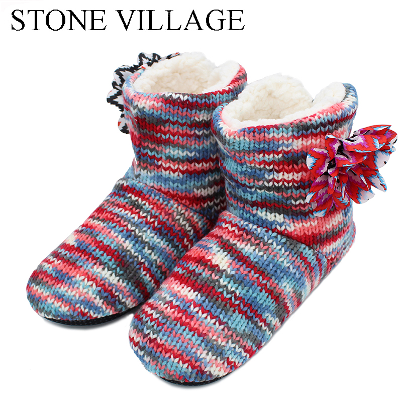 STONE VILLAGE 2018 New Arrival Rainbow-Colored Large Flowers Cute Candy Lady Slippers Cotton Velvet Shoes Woman Slippers Shoes