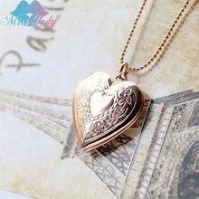 Мисс Леди Творческий Глянцевая сердца карманные часы Цепочки и ожерелья поместить фотографии открывать и закрывать кулон любовь Цепочки и ожерелья для женщин ювелирные изделия A1014