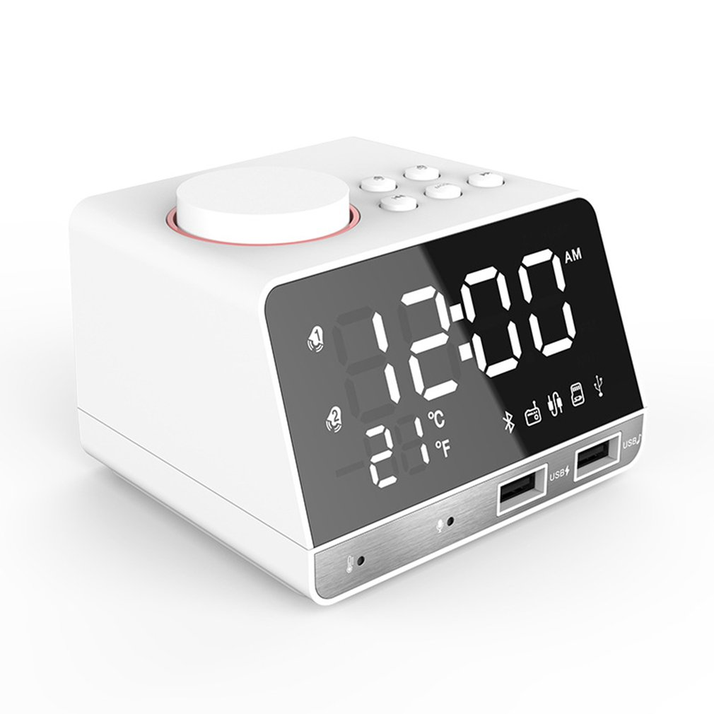 цена на US/EU/UK plug K11 Bluetooth Watch Alarm Clock Speaker with Dual USB Interface Charging Audio Creative Music Clock Display Radio
