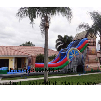 inflatable water Slide PVC Commercial Inflatable Slide with water pool For Sale