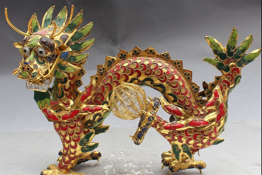 """8"""" Chinese Fengshui Bronze Gilt Zodiac Year Animal Dragon Play Bead Ball Statue S0708 statue of liberty 3d statue mars statues religious - title="""