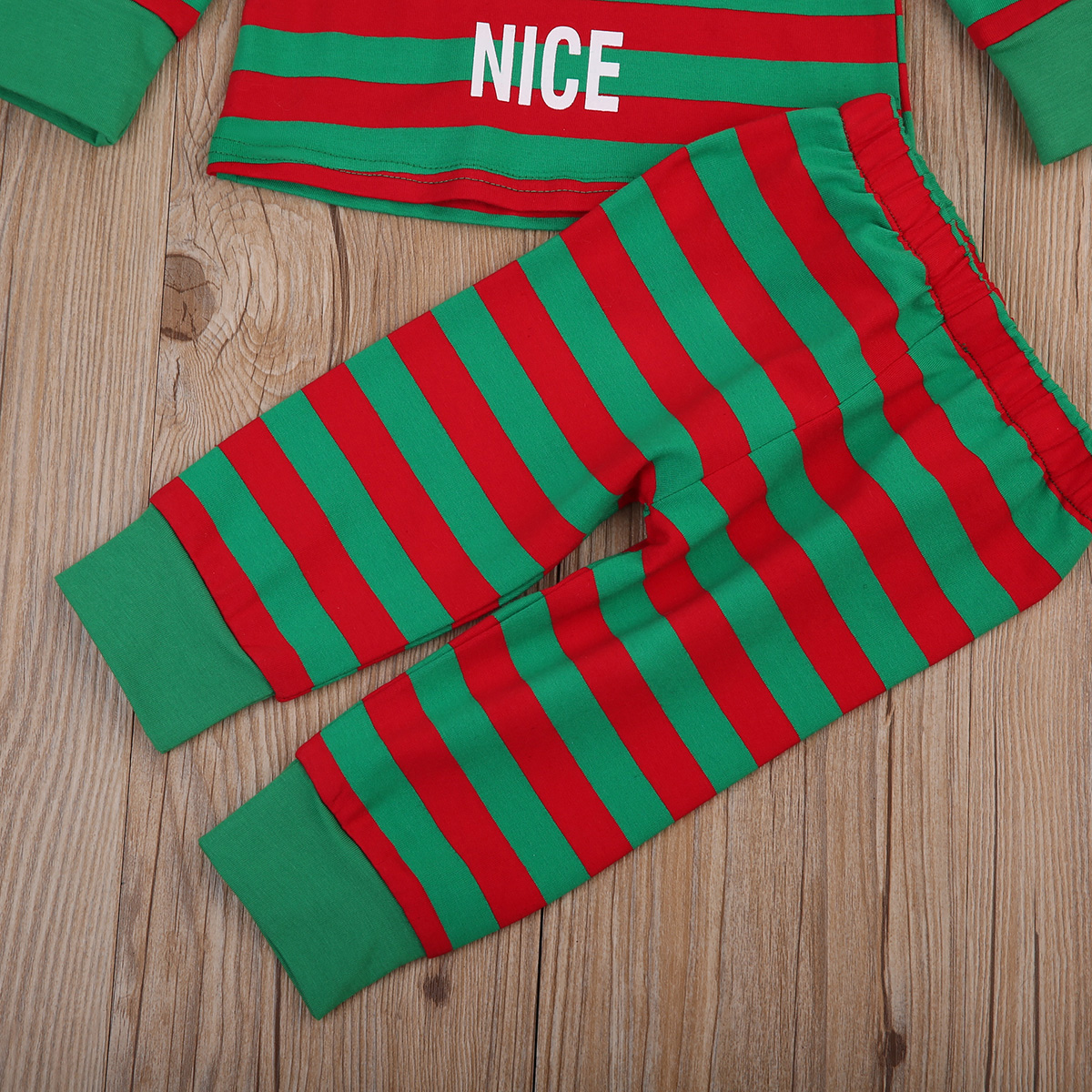 Baby Kids Boys Girls Stripes Xmas Clothing Set Child T-shirt Pants Pjs Sleepsuit Sleepwear Pajamas Nightwear ClothesSet