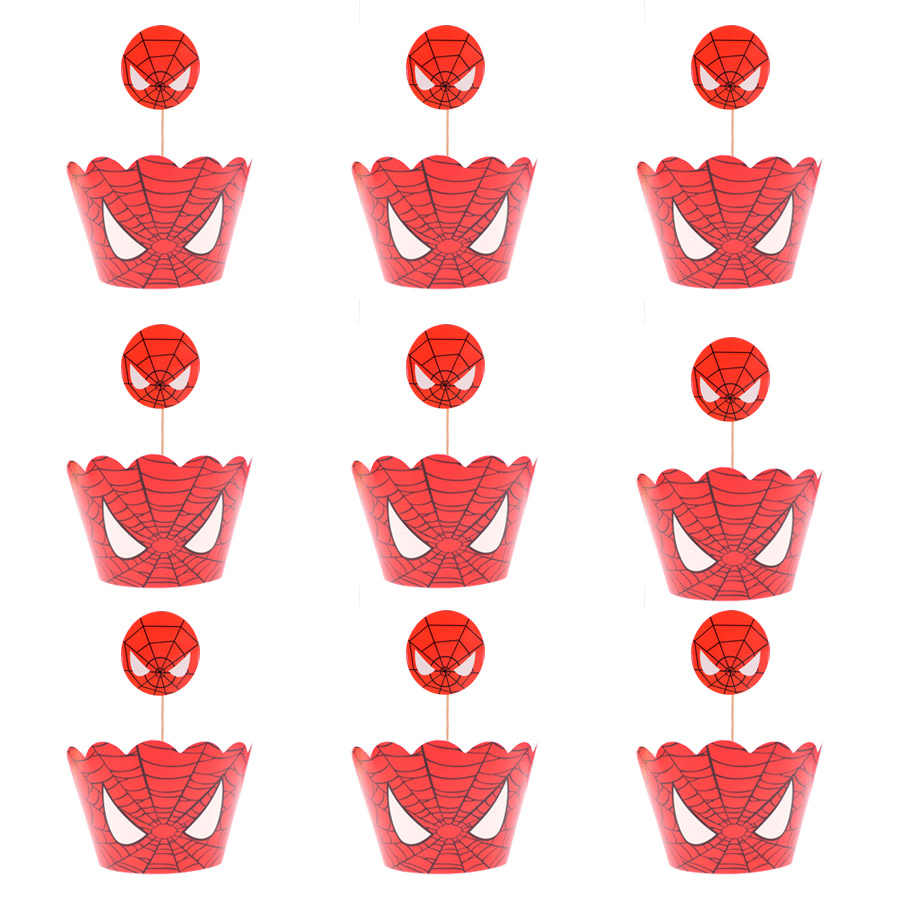 Disposable tableware ธีม spiderman เค้ก Toppers Cupcake Wrappers วันเกิดเค้กตกแต่ง Baby Shower Party Supplies