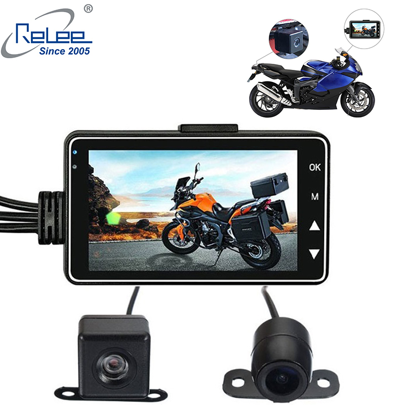 Relee Motorcycle DVR 3.0 Inch Car Camera With DVR Holder  Vehicle Blackbox Dvr  Dual Lens Dash Cameras For Motorcycle Car DVR